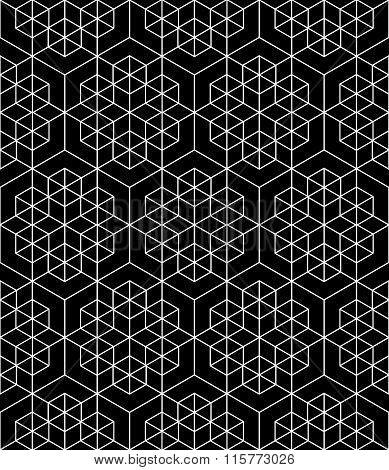 Futuristic Continuous Black And White Pattern, Illusive Motif Abstract Background, Geometric