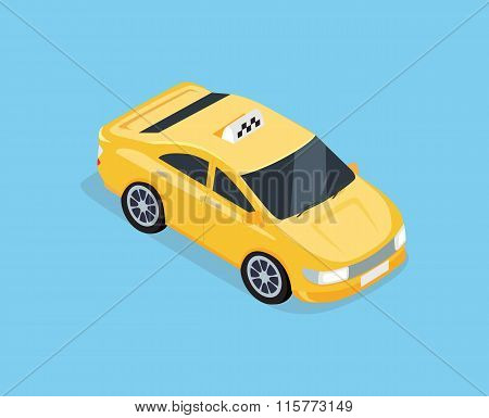 Flat 3d Isometric Car Taxi
