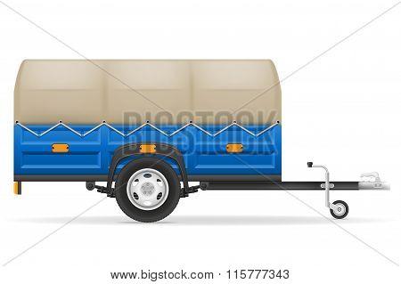 Car Trailer For The Transportation Of Goods Vector Illustration