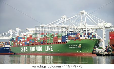 China Shipping Line Cargo Ship HOHAI SEA loading at the Port of Oakland