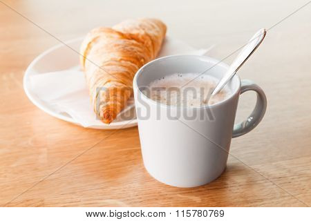 Cappuccino With Croissant. Cup Of Coffee