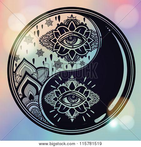 Yin and Yang boho symbol.
