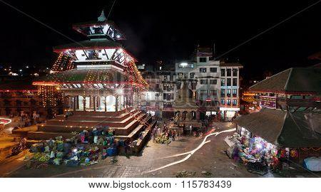 Night View Of Kathmandu Durbar Square During Festival