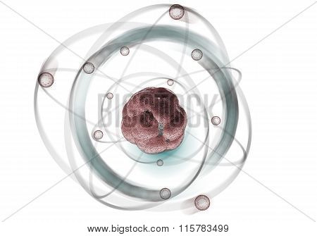 Close up illustration of atomic particle for nuclear energy imagery