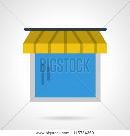 Exterior window with yellow striped awning. Storefront and showcases. Vector icon flat color style. Web design element for site, mobile and business. poster