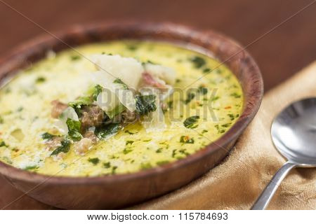Sausage and kale zuppa toscana italian creamy soup poster