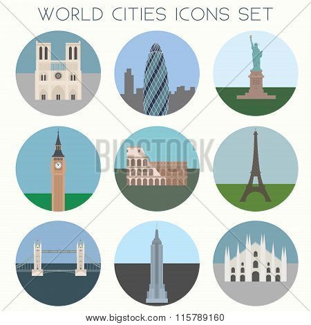 World Cities landmarks & symbols - Vector EPS10