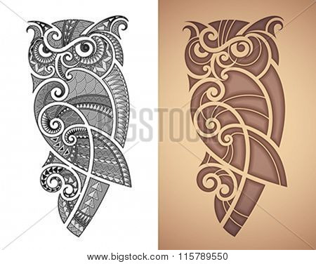 Maori styled tattoo pattern of owl. Fits for a shoulder or an ankle. Editable vector illustration.