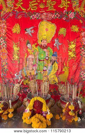 Joss Stick Burn On The Box At Chinese Shrine