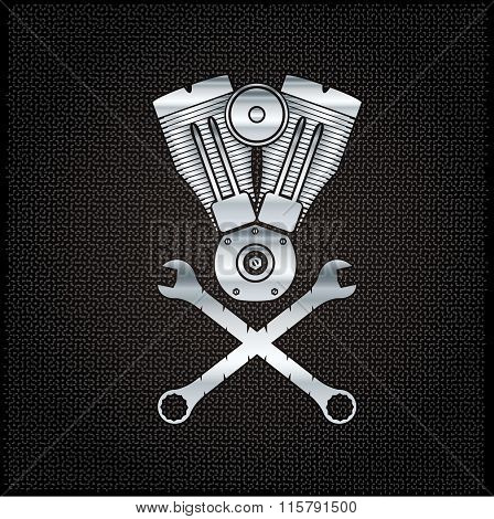 Silver Combustion Engine On Metal Background