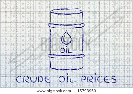 Barrel On Stock Exchange Background, With Text Crude Oil Prices
