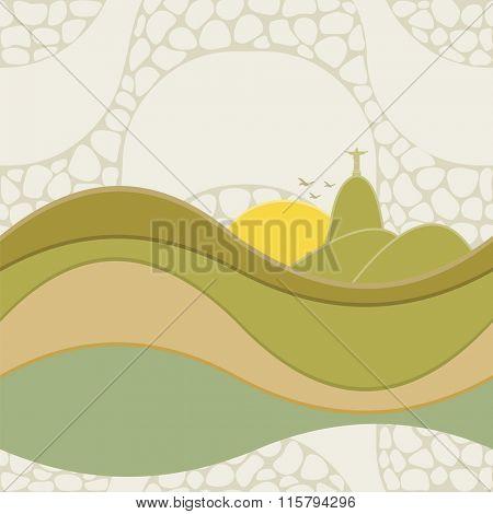 Seamless pattern of Rio de Janeiro, Brazil. Copacabana beach sidewalk mosaic.