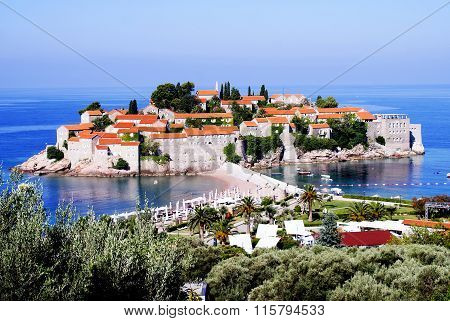 Sveti Stefan, Montenegro - July 06, 2014: Aman Sveti Stefan