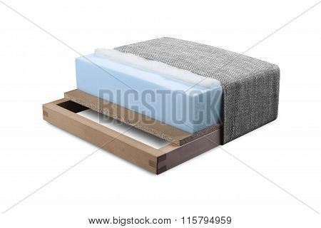 Cross section of sofa armchair mattress and upholstery - Open structure of furniture seat - Foam latex and bonnell with clipping path poster