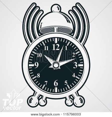 Alarm Clock Vector 3D Monochrome Illustration With Podcast Sign, Wake Up Conceptual Icon. Graphic Re