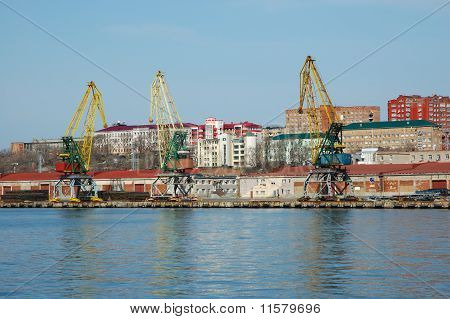 Shipment Pier (stage) In Russian Seaport Vladivostok.