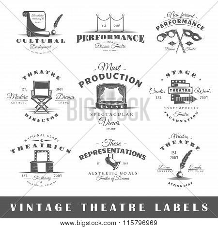 Set Of Vintage Theater Labels