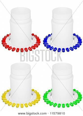 Set Of Capsule Pills With Different Colors And White Plastic Bot