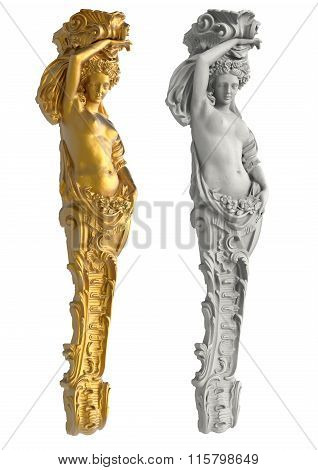 Greek ancient statue of the Caryatids on white background