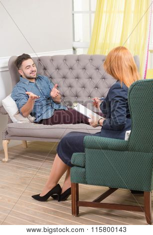 Handsome man at the psychotherapist