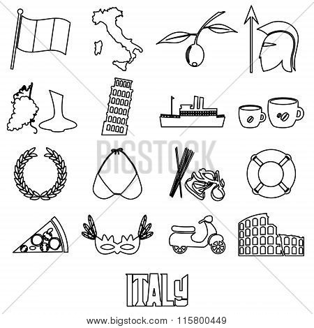Italy Country Theme Outline Symbols And Icons Set Eps10