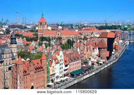 Top View On Gdansk (danzig)old Town In Polandso