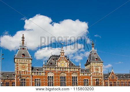 Flemish facade of Amsterdam Central Station Holland