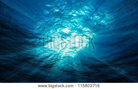 Light Underwater In The Ocean
