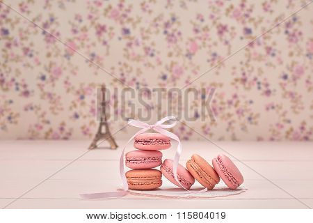 Macarons French Dessert. Eiffel Tower On Wood