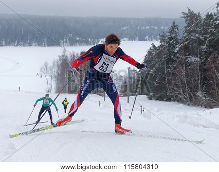 Cross Country Skiing Man Sprinting In A Uphill Slope