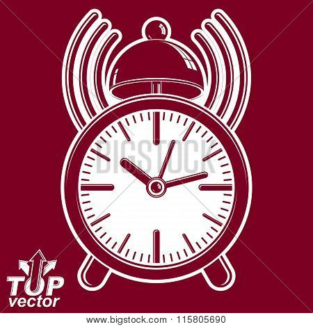 Alarm Clock Vector 3D Illustration With Podcast Sign, Classic Wake Up Ticker. Dimensional Clock With