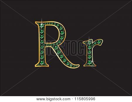Rr In Emerald Jeweled Font With Gold Channels