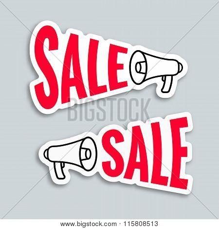 Sale Megaphone Sticker Design