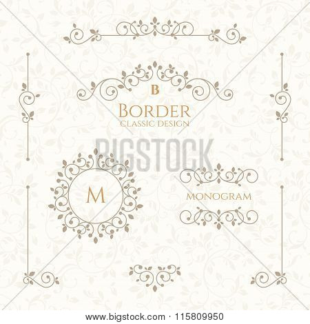 Collection Of Decorative Elements. Vector Borders And Monograms. Seamless Pattern.