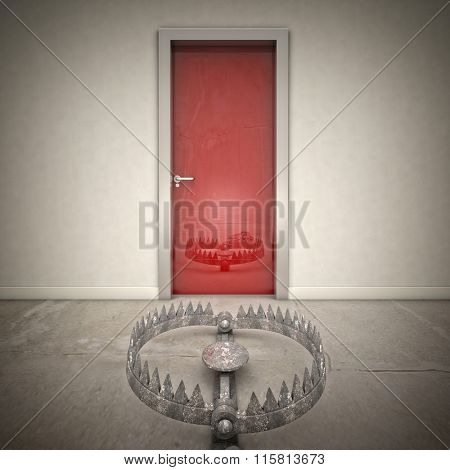 3d red door and bear trap