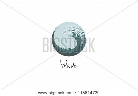Grunge Circle Logo. Company and blue, brush and business, effect and paintbrush. Vector illustration