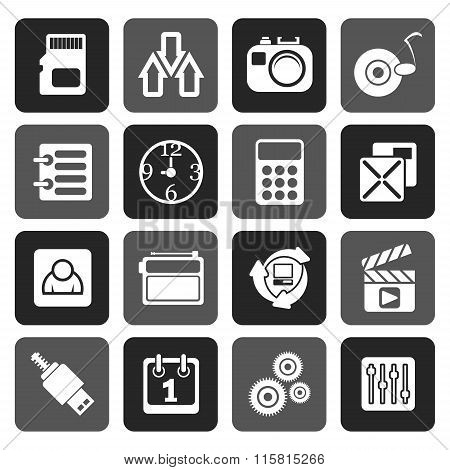 Flat phone performance, internet and office icons