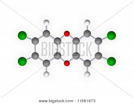 dioxin molecule model on white background - 3d illustration poster
