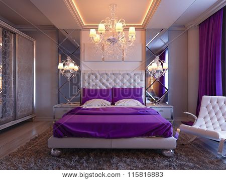 3D Rendering Bedroom In Gray And White Tones With Purple Accents And Big Cupboard