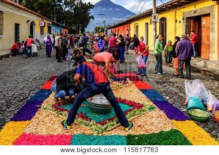 Making Good Friday Processional Carpets, Antigua, Guatemala