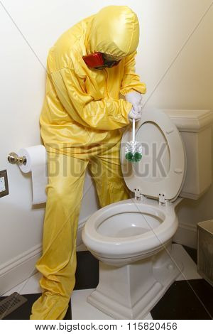Woman Cleaning Haz Mat Toilet