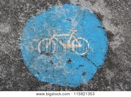 Icy Bike Path - Traffic Sign