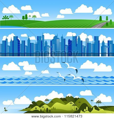 Landscape banners vector background set.