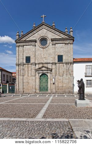 Braga, Portugal - July 27, 2015: Sao Paulo Church. 16th century Mannerist style religious building.