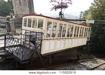 Braga, Portugal - October 6, 2015: 19th century funicular, powered by a water gravity system, in the famous Bom Jesus do Monte Sanctuary.