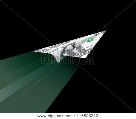 dollar plane flying in dark