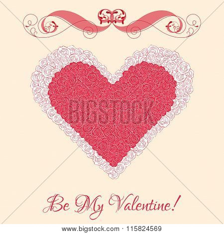 Vector heart from pink roses with curl