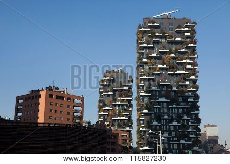 MILAN, ITALY - NOVEMBER 6, 2015: Bosco Verticale (Vertical Forest) residential towers in the Porta Nuova district in Milan, Lombardy, Italy.