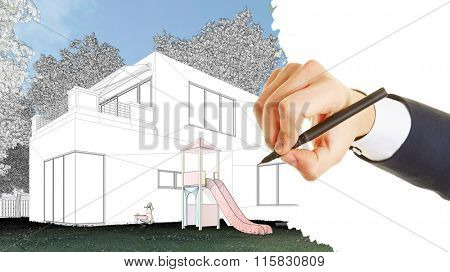 Hand of architect drawing draft for a modern house (3D Rendering)