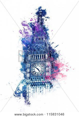 Colorful watercolor painting of Big Ben clock tower in Westminster London with bright blue, purple and pink splashes over the top of the Gothic facade for a card, poster or souvenir design